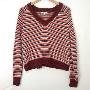 MADEWELL V-Neck Crop Stripe Pullover Sweater